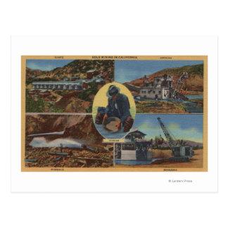 Minería aurífera en California - Quarz, rastra Postal