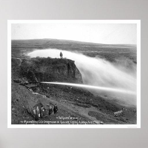 Minería aurífera hidráulica Alaska 1910 Póster
