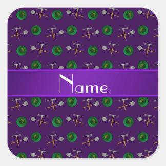 Minería aurífera púrpura conocida personalizada calcomanía cuadrada personalizada