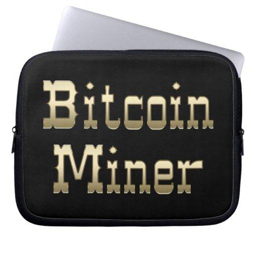 Minero de Bitcoin (en negro) Fundas Portátiles