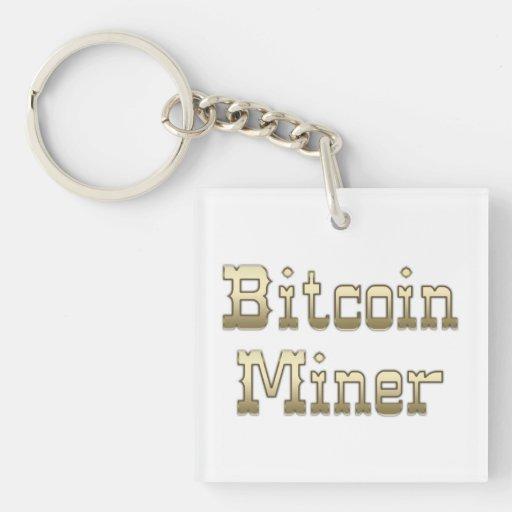 Minero de Bitcoin Llavero Cuadrado Acrílico A Doble Cara