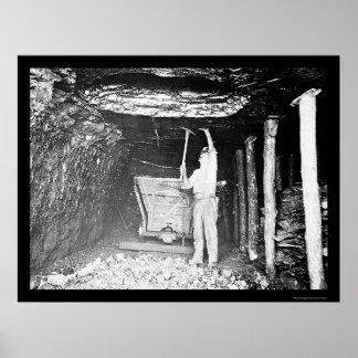 Minero de carbón 1910 poster