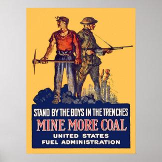 Minero de carbón patriótico del vintage WW1 con el Póster