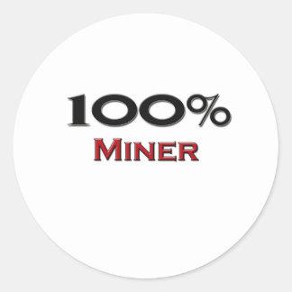 Minero del 100 por ciento pegatinas redondas