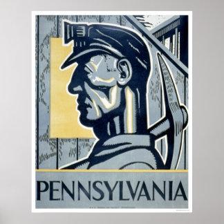 Minero en Pennsylvania WPA 1937 Posters