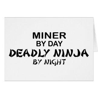 Minero Ninja mortal por noche Tarjeta De Felicitación