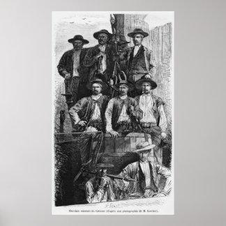 Mineros de carbón de Le Creusot durante el segundo Posters