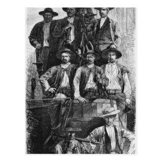 Mineros de carbón de Le Creusot durante el segundo Tarjeta Postal