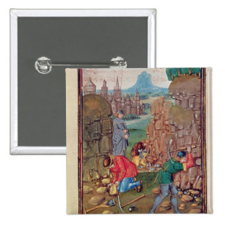 Miners at work, from 'Des Proprietez des Choses' 2 Inch Square Button