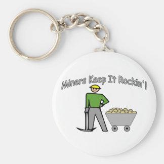 Miners Keep It Rockin Basic Round Button Keychain