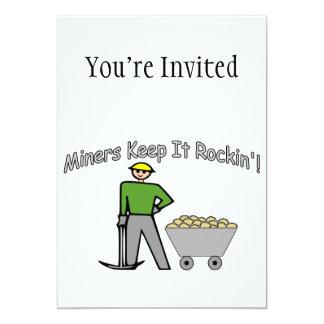 Miners Keep It Rockin 5x7 Paper Invitation Card