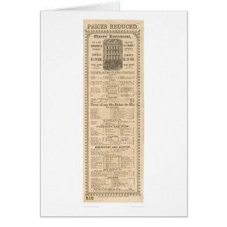 Miners' Restaurant Menu (1083A) Card