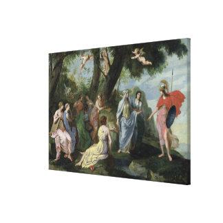 Minerva con las musas impresión en lienzo estirada