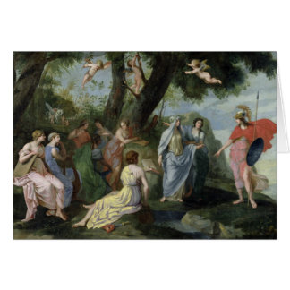 Minerva con las musas tarjeta de felicitación