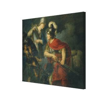 Minerva que le muestra envidia en el escudo pulido impresión en lona estirada