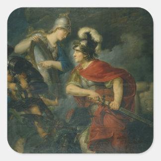 Minerva que le muestra envidia en el escudo pulido pegatina cuadrada