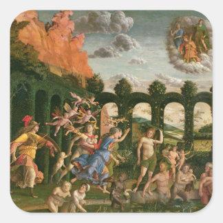 Minerva que persigue los vicios pegatina cuadrada