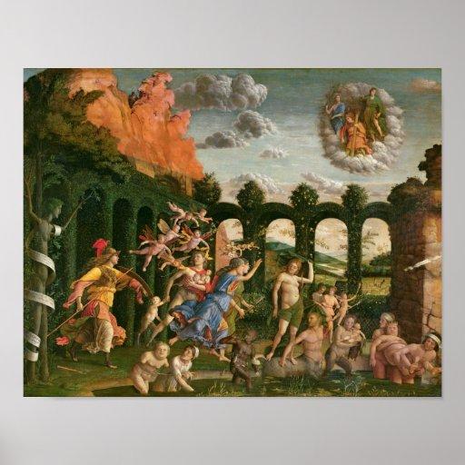 Minerva que persigue los vicios póster