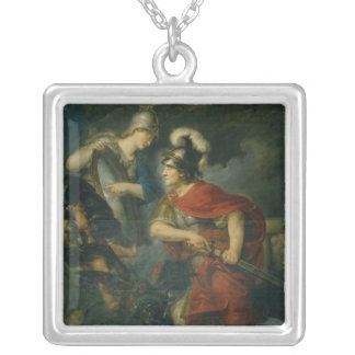 Minerva Showing her Envy in the Polished Shield Silver Plated Necklace