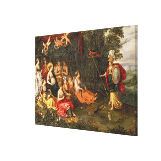 Minerva Visiting the Muses on Mount Helicon Canvas Print