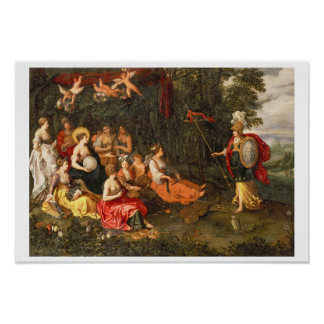 Minerva Visiting the Muses on Mount Helicon Poster
