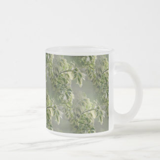 Ming Aralia Foliage in the Fog Frosted Glass Coffee Mug