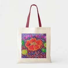 Ming Dynasty Lotus Red Grocery Tote Bag