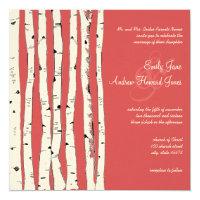 Ming Red Birch Tree Wedding Invitations