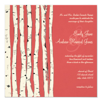 Ming Red Birch Tree Wedding Invitations