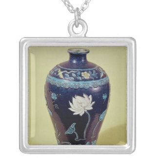 Ming vase with three colour decoration silver plated necklace