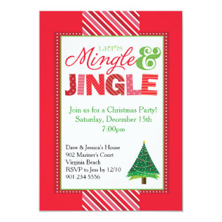 Mingle and Jingle Christmas Party Invitation at Zazzle