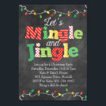 """Mingle &amp; Jingle Christmas Lights Invitation<br><div class=""""desc"""">This fun and festive Mingle &amp; Jingle party invitation is perfect for your Christmas holiday party! This design features a chalkboard background and festive Christmas light strands.</div>"""