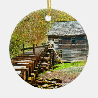 Mingus Mill, Great Smoky Mountains Ceramic Ornament