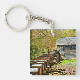 Mingus Mill, Great Smoky Mountains Double-Sided Square Acrylic Keychain