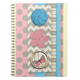 mini05 CUTE BUTTONS BUTTERFLY SCRAPBOOKING DECORAT Spiral Notebook
