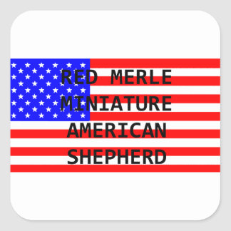 mini am shep name on flag red merle square sticker