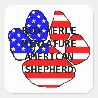 mini am shep name paw flag red merle square sticker