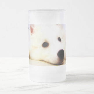Mini American Eskimo Frosted Glass Beer Mug