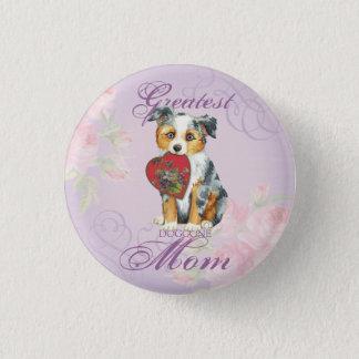 Mini American Shepherd Heart Mom Pinback Button