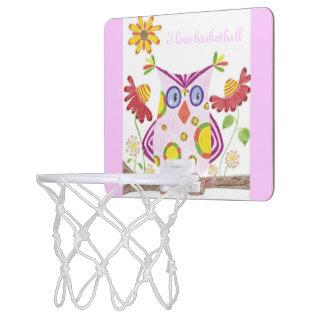 Mini aro de baloncesto del búho rosa claro canastas mini