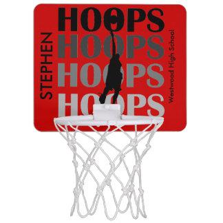Mini aro del baloncesto de encargo rojo de los aro minicanasta