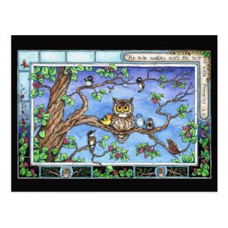 Mini Art Owl Birds Tree Scripture Quote Postcard