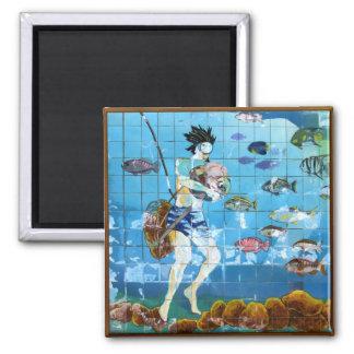 Mini Art Sponge Diver 2 Inch Square Magnet