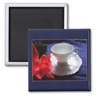 Mini Art Teacup 1 2 Inch Square Magnet