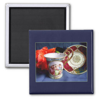 Mini Art Teacup 2 2 Inch Square Magnet