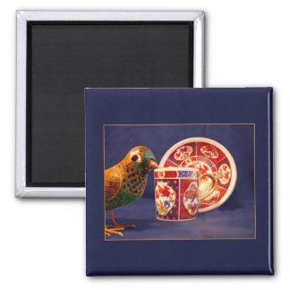 Mini Art Teacup 3 2 Inch Square Magnet