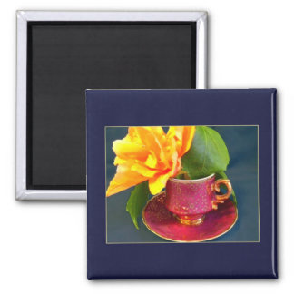 Mini Art Teacup 4 2 Inch Square Magnet