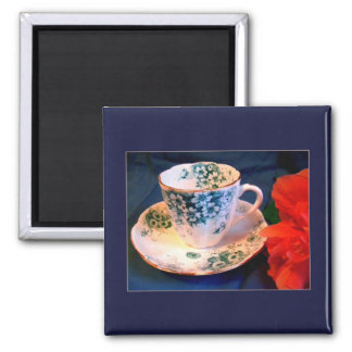 Mini Art Teacup 5 2 Inch Square Magnet