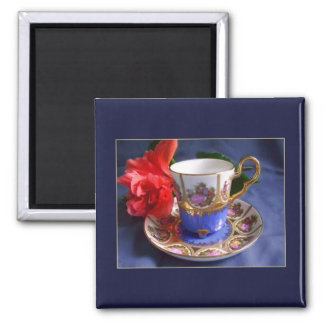 Mini Art Teacup 6 2 Inch Square Magnet