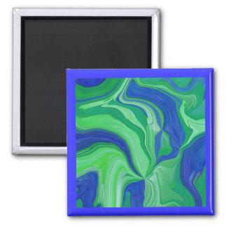 Mini arte en extracto del verde azul imán de frigorifico